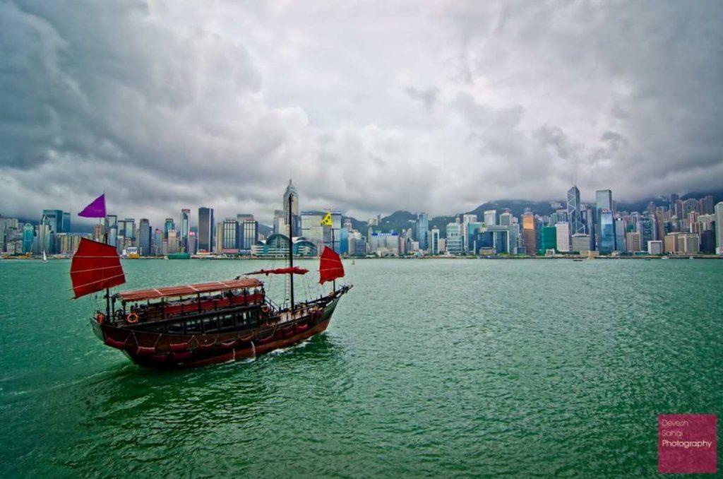 hong kong skyline with the aqua luna