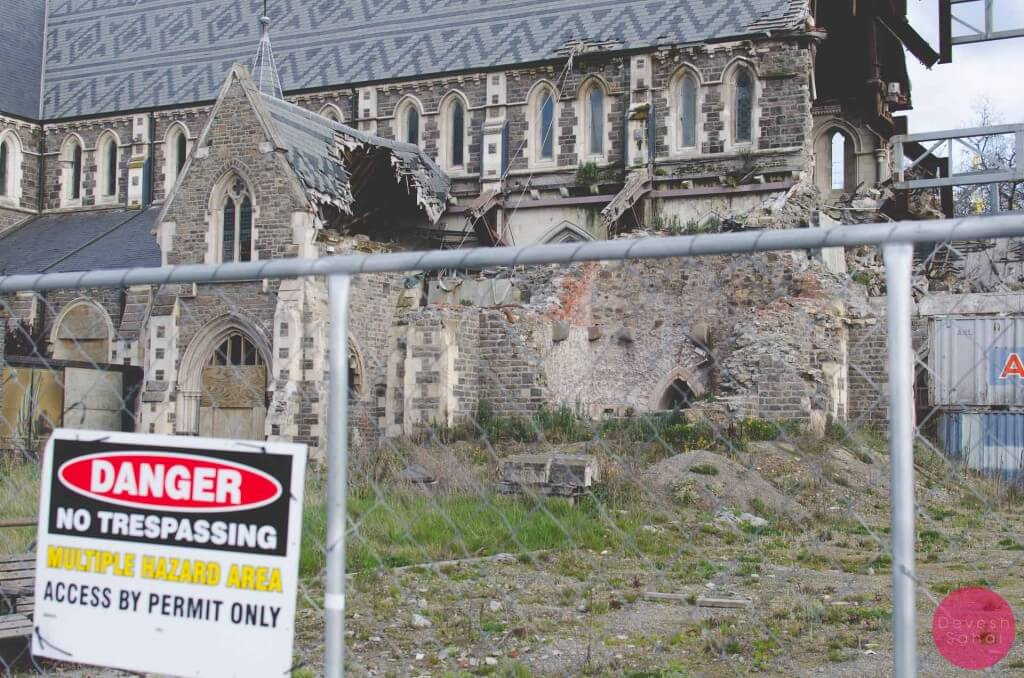 A partially destroyed Christchurch Cathedral