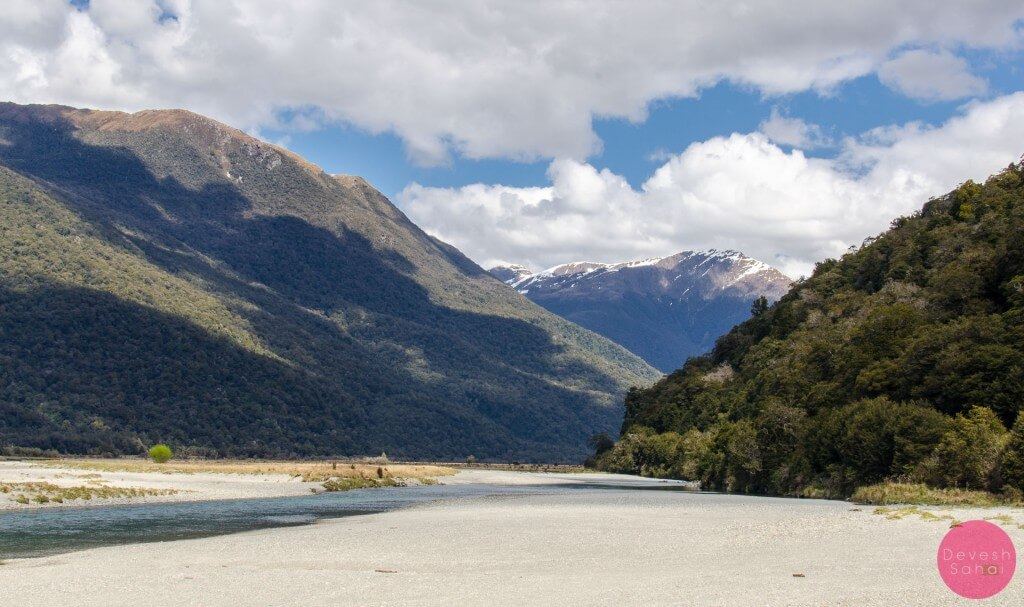 Stopping for a quick photo at Haast Pass