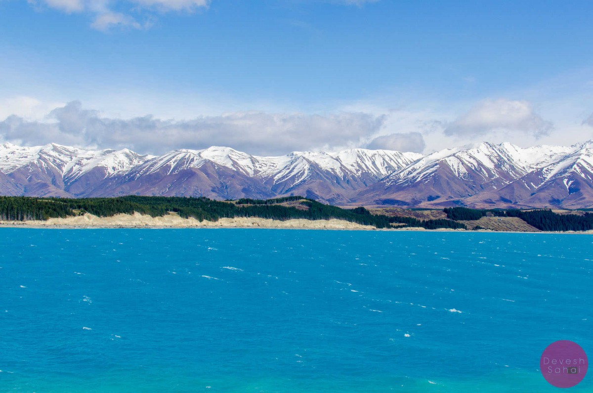 lake pukaki with the southern alps in the background