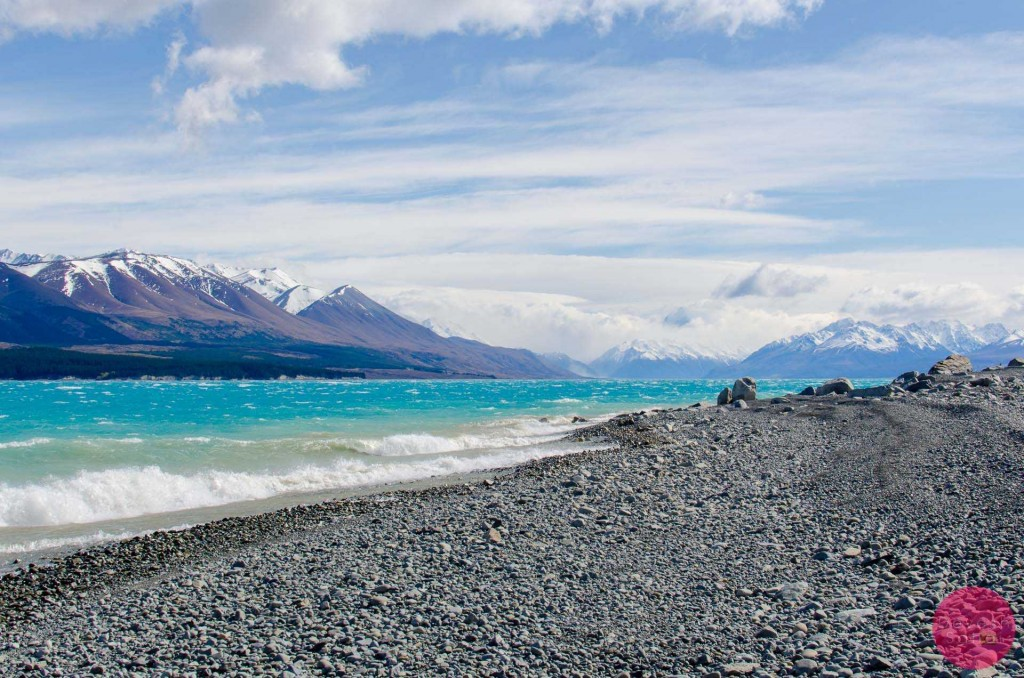 Rocks on the shoreline of Lake Pukaki