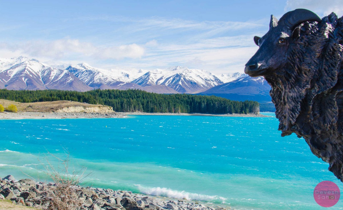 statue on the shore of lake pukaki