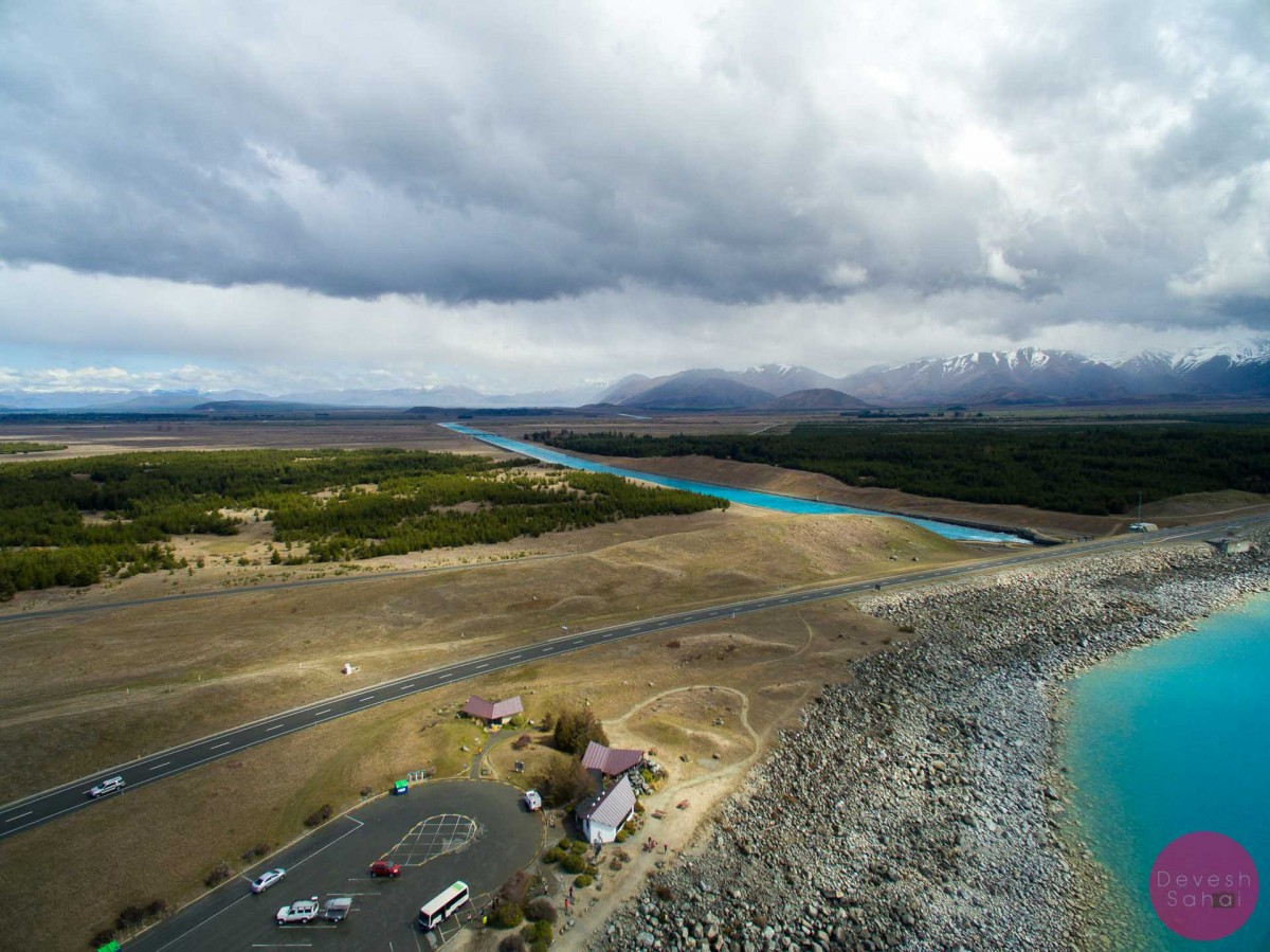aerial view of pukaki canal
