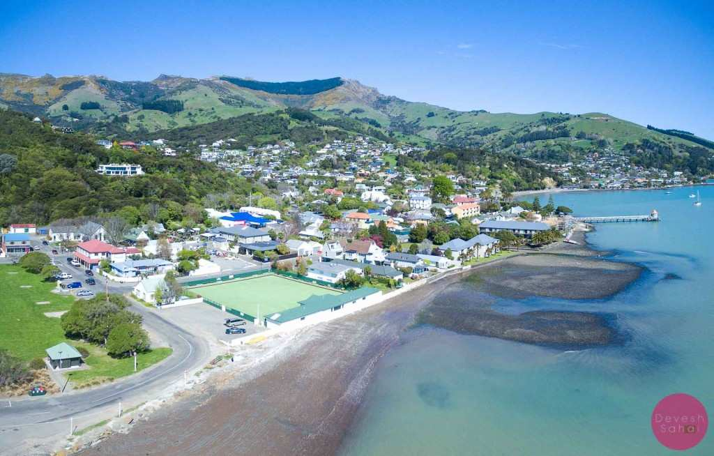 An aerial view of Akaroa