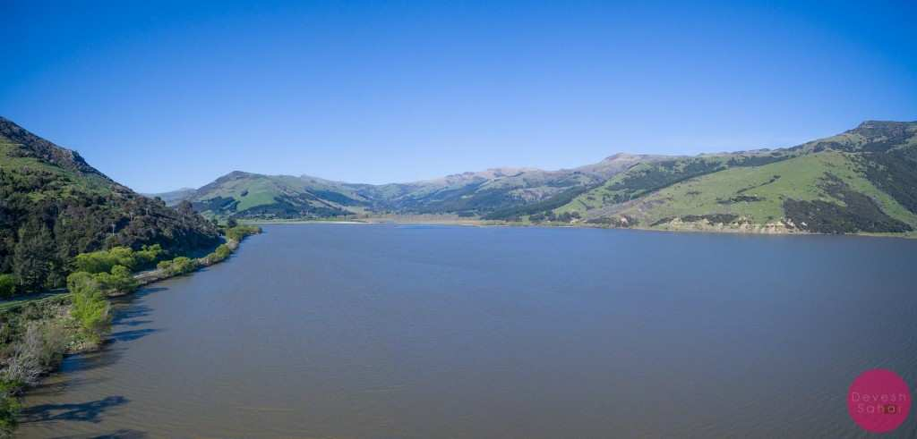 An aerial panorama of Lake Forsyth