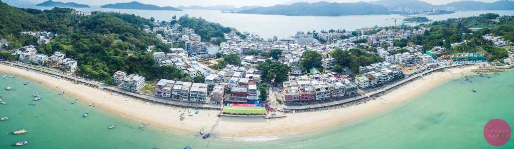 An aerial panorama of Peng Chau island, Hong Kong