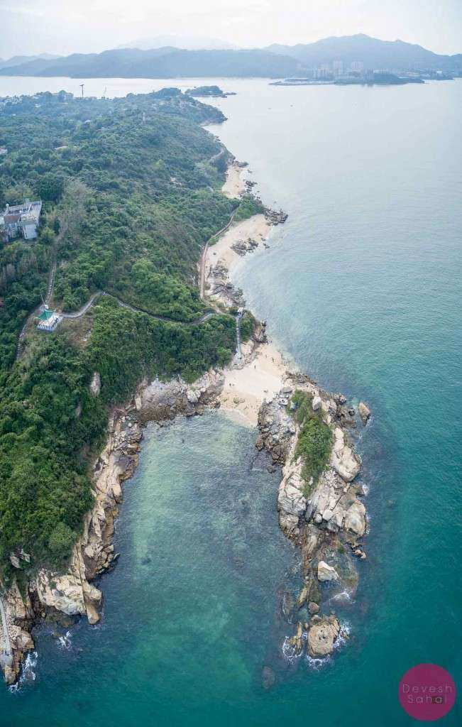 Aerial panorama of Peng Chau Island's north coast (lot's of small beaches and the Peng Yu Path)