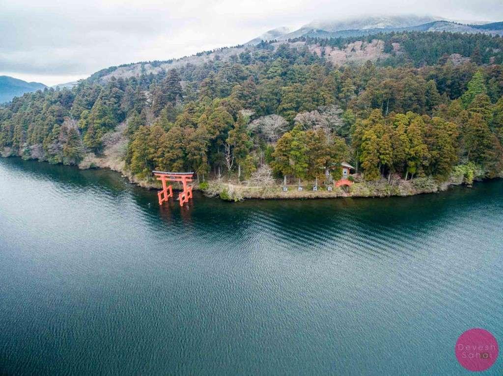 "Torii of Peace (Hakone Shrine's ""floating"" red gate)"