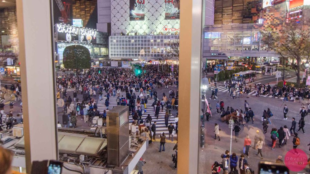 The uber-famous Shibuya crossing