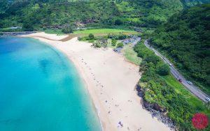 drone aerial photo of Waimea Bay Beach hawaii