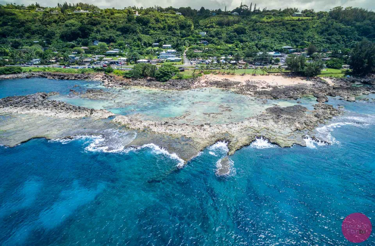 sharks cove north shore oahu aerial photo