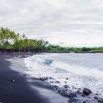 waves at the punaluu black sand beach big island hawaii