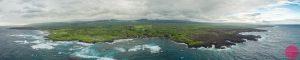 aerial panorama of the punaluu black sand beach