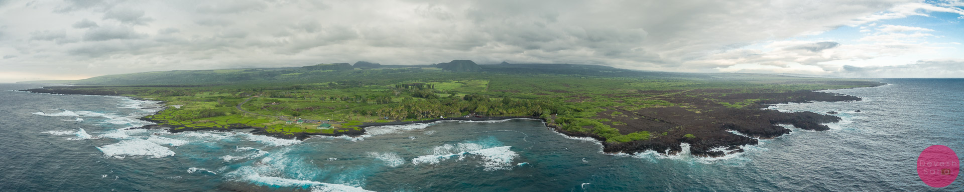 aerial panorama of the punaluu black sand beach