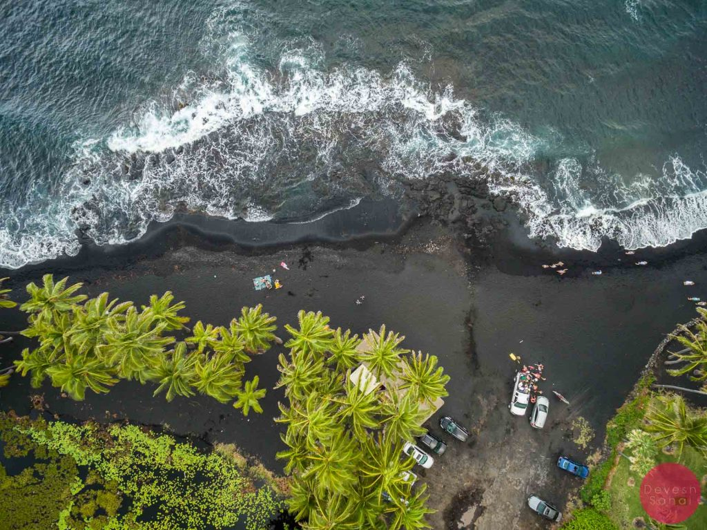 aerial photo of the punaluu black sand beach big island hawaii
