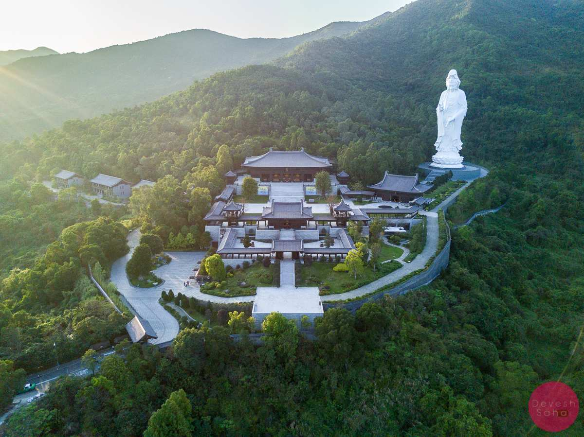 tsz monastery hong kong giant white statue sunset