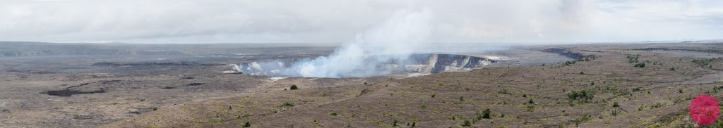 A panoramic view of the Kilauea Caldera from the Jagger Museum, Hawaii Volcanoes National Park