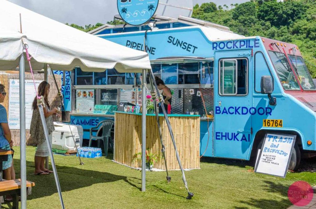 Food trucks at Shark's Cove, North Shore, Oahu