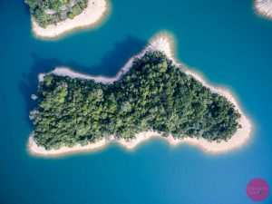 looking down on tiny islet
