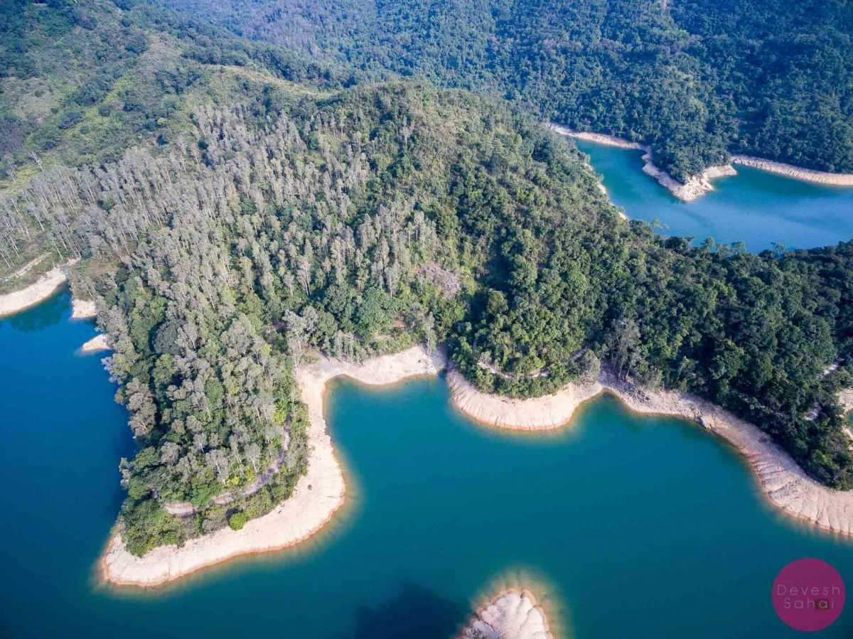 aerial photo of shing mun reservoir