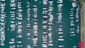 aerial view of boats at pier