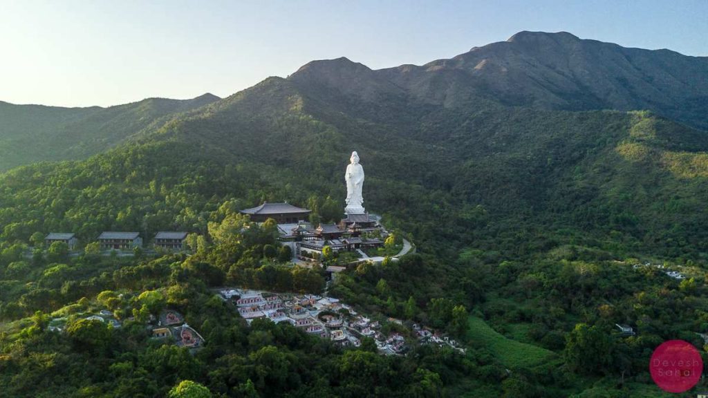 giant white statue overlooking new territories hong kong