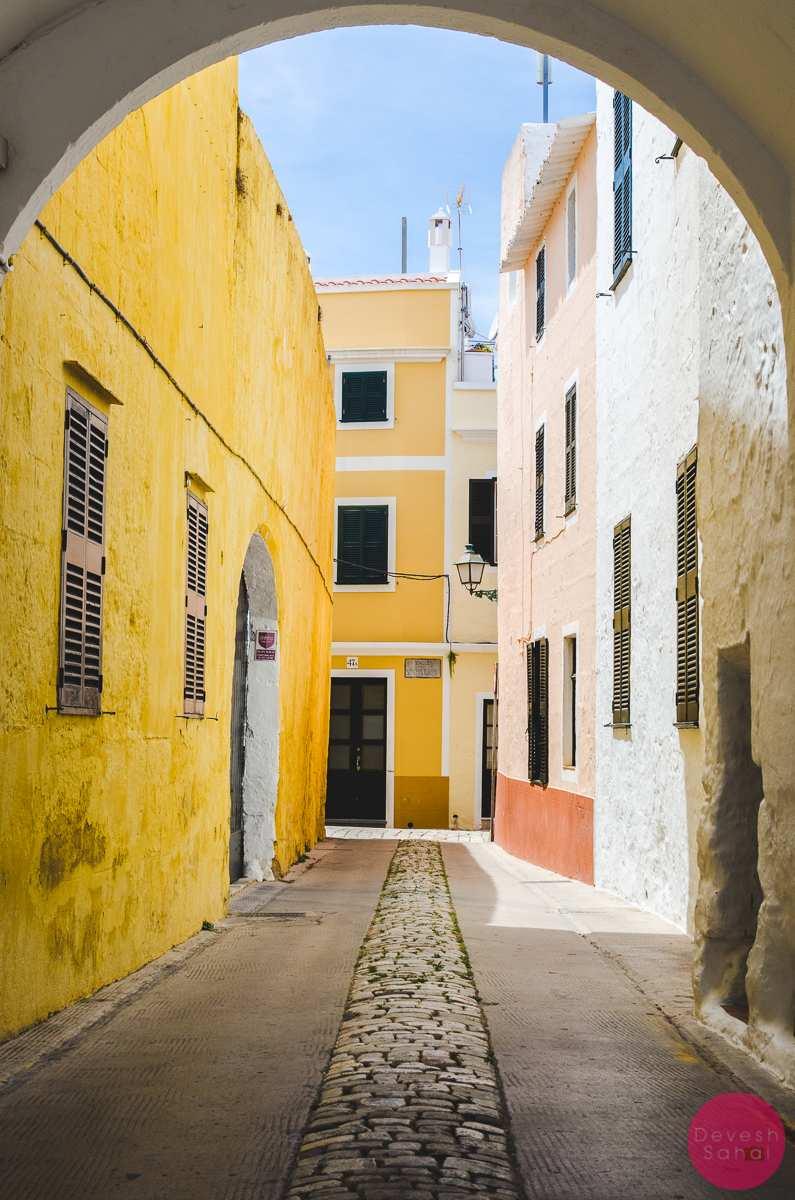 colourful ciutadella alleys menorca