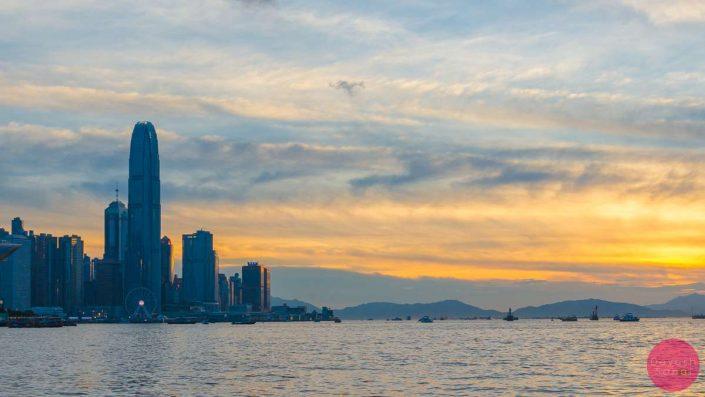 beautiful sunset hong kong