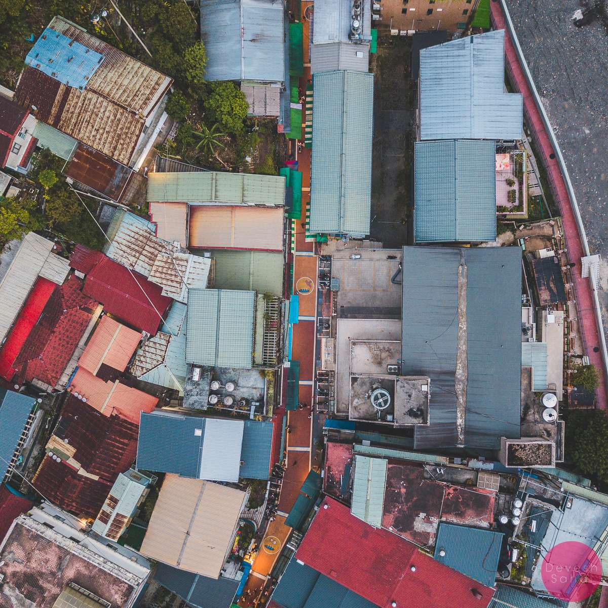 Wulai Old Street aerial view