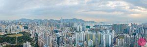 Aerial panorama of Kowloon, Hong Kong