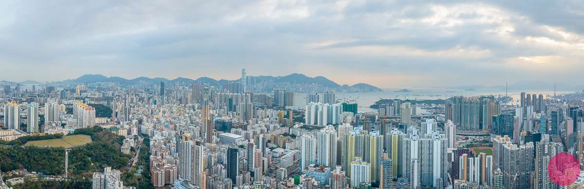 Aerial panorama of Kowloon, Hong Kong