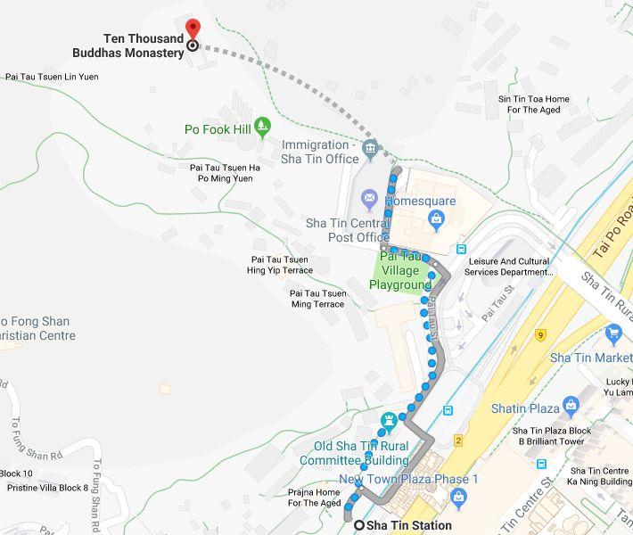 Sha Tin MTR to Ten Thousand Buddhas Map