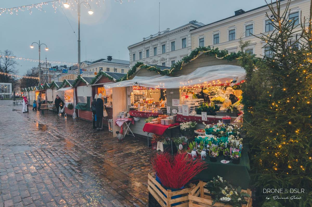 market square in helsinki during christmas