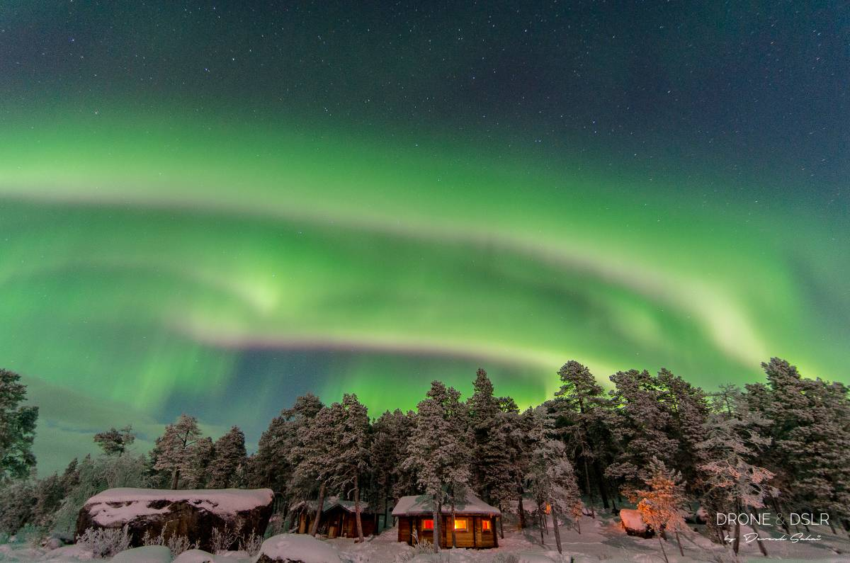 stunning display of northern lights in lapland, finland