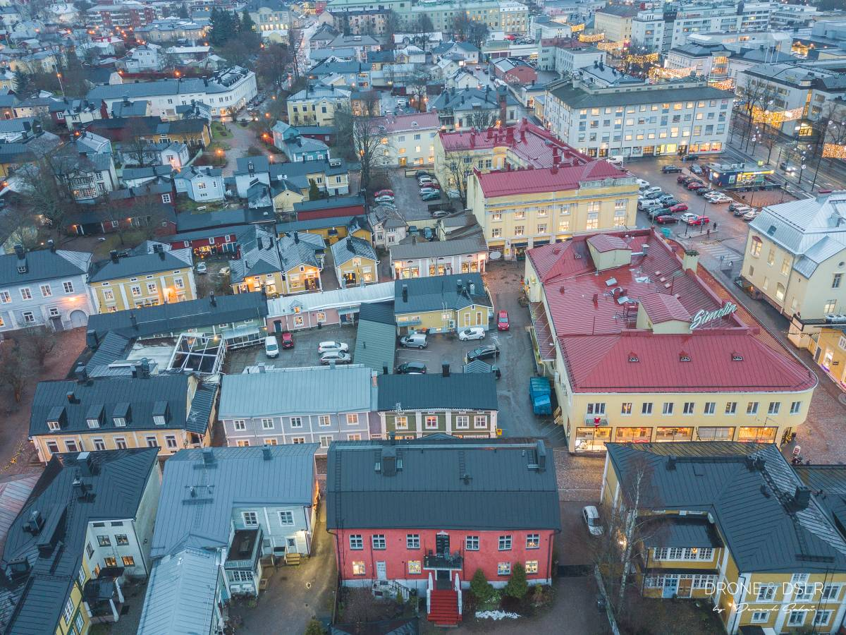 aerial photo of old porvoo town