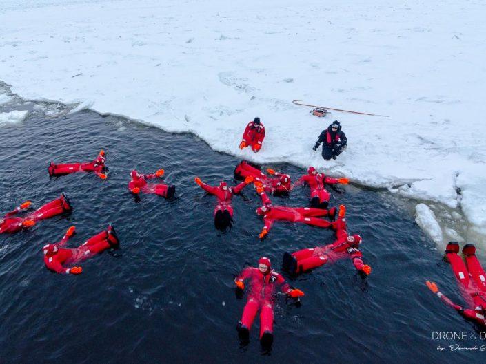 floating in frozen sea on iceabreaker cruise