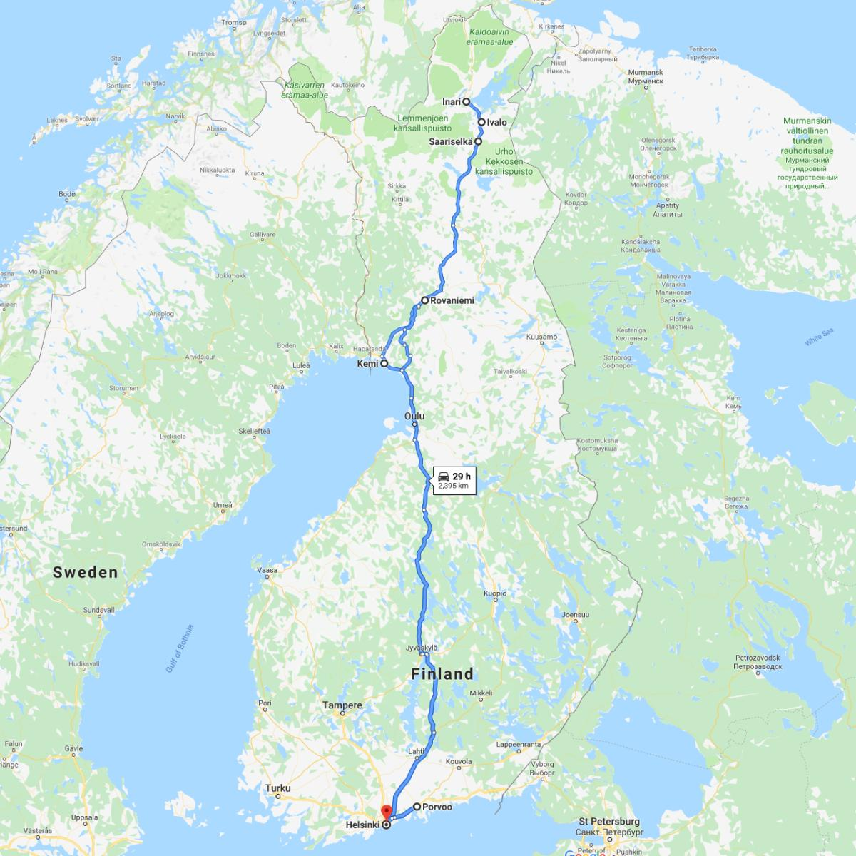 Map of Finland Winter Itinerary