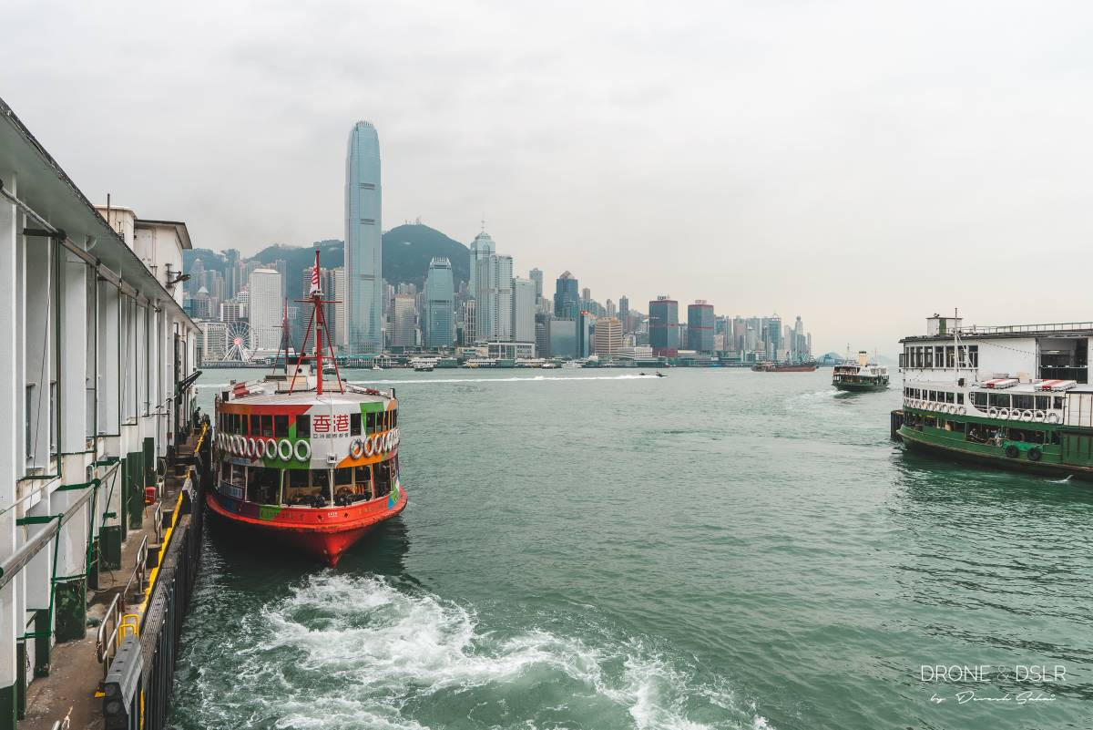 star ferry with the hong kong skyline in the background