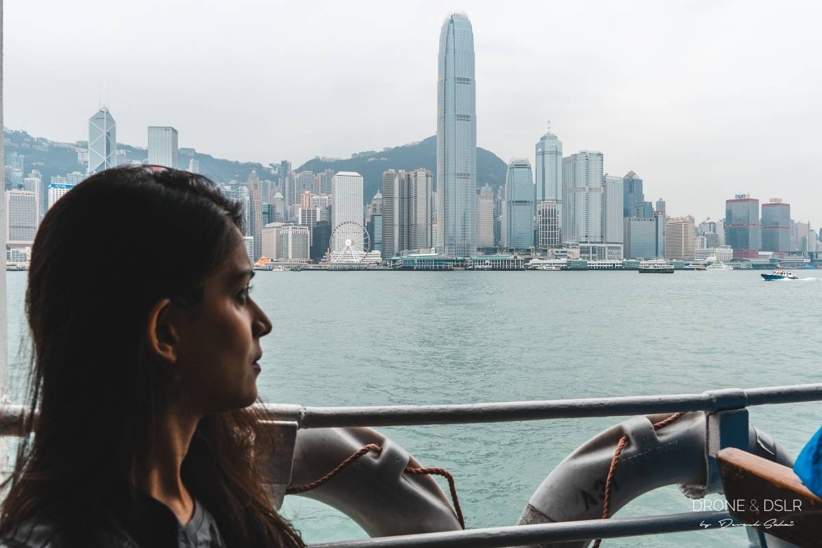 enjoying a ride on the star ferry