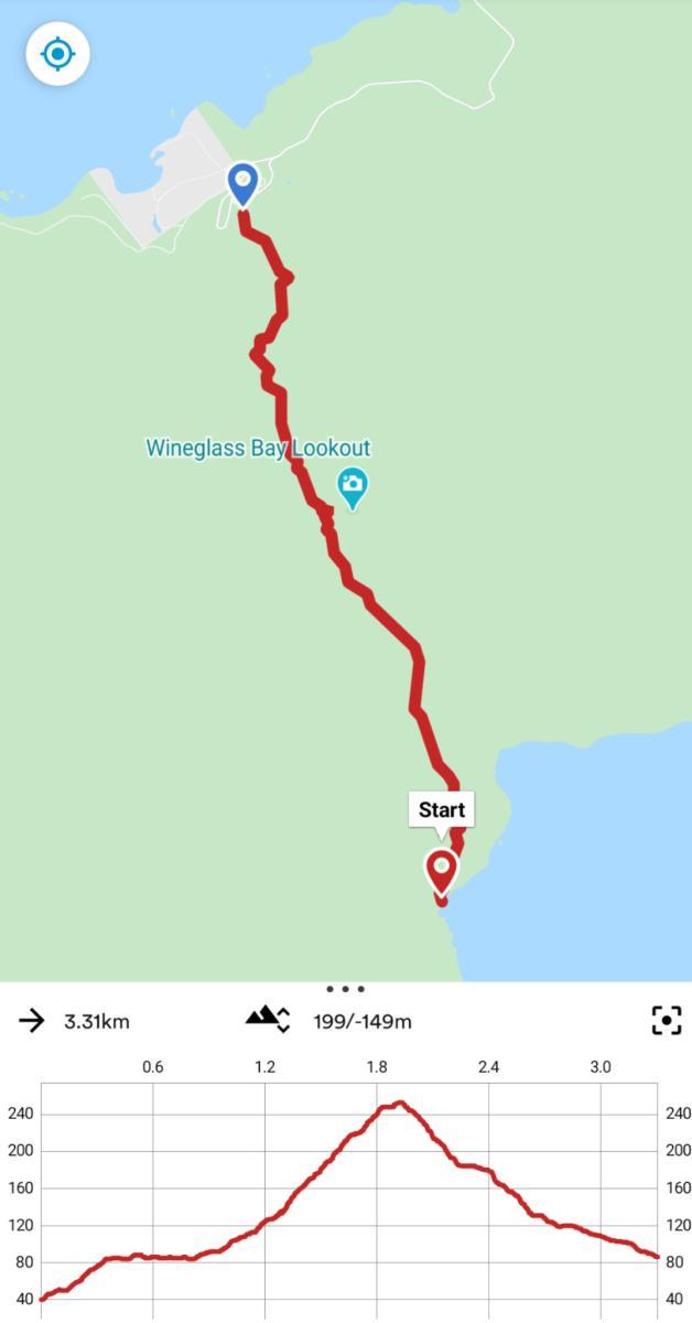 Wineglass Bay Walk map
