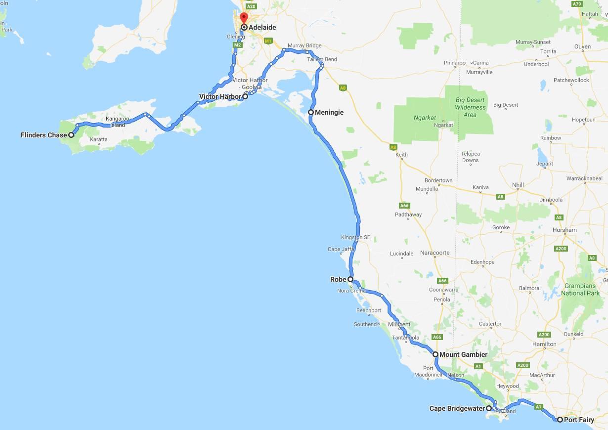 Southern Ocean Drive, SA, Map