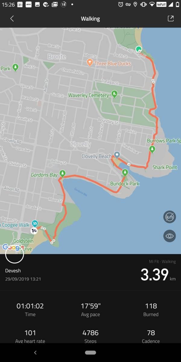 Bondi to Coogee Walk Map