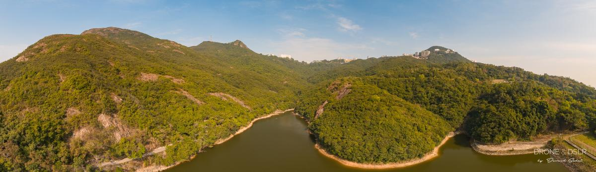 Aerial panorama of Pok Fu Lam Reservoir