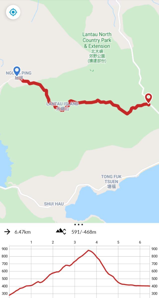 Lantau Peak Hike trail map