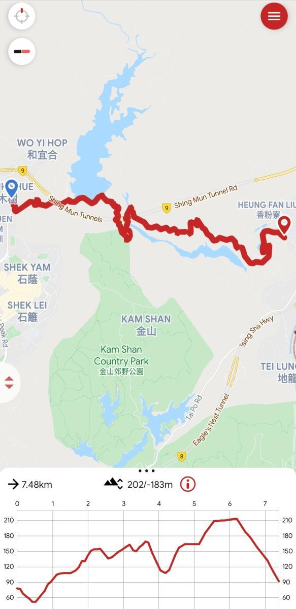 Lower Shing Mun Reservoir hike map